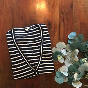 J.Crew Cotton Cardigan in Navy and White Stripe